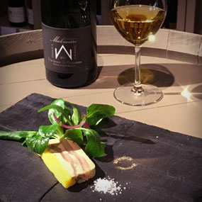 """Foie gras with pears from the Jardin de l'Abbaye and our Coteaux du Layon Beaulieu """"A la faveur de l'Automne"""""""
